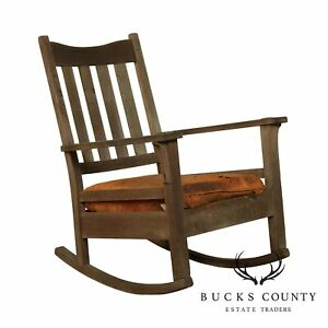 Antique Mission Oak Weathered Rocker