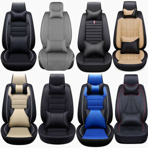 13 Deluxe Pu Leather Car Seat Cover Cushion Protector 5 Seats Full Set Universal