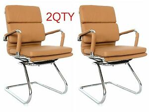 Padded Eames Camel Leather Visitors Office Chairs For Conference 2 Chairs