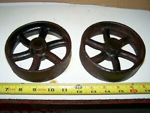 5 Cast Iron Wheels For Hit Miss Gas Engine Truck Cart Magneto Steam Oiler Wow