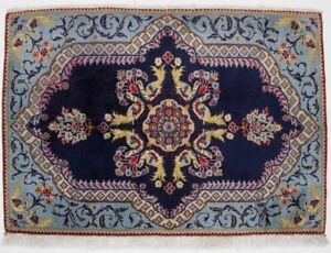 Floral Classic Purple Navy Small 2x3 Rare Vintage Oriental Rug Home Wool Carpet