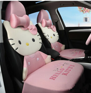 Hello Kitty Cartoon Car Seat Covers Set Universal Car Interior Pink Co