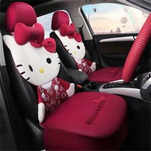 Hello Kitty Cartoon Car Seat Covers Set Universal Car Interior Black Color Type2