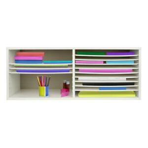 White Wood 16 Extra wide Shelves Construction Paper Organizer