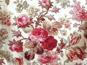 Antique Vintage French Floral Fabric Roses Lilacs Printed Cotton