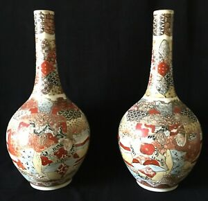 Pair Of Fine Antique Japanese Hand Painted Satsuma Vases Large 15