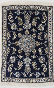 Hand Knotted Traditional Navy Thick Pile 3x4 Nain Small Oriental Area Rug Carpet