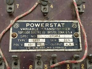 Powerstat Variable Transformer Superior Electric Spec Ep1454 Type S977