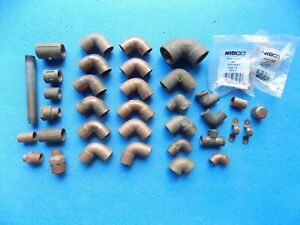 lot Of 34 Copper Tubing Fittings Elbows Etc 1 2 3 4 Extras