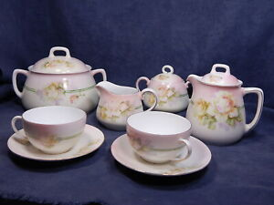 Antique Tea Set For 2 Fine Bavarian Porcelain Prince Regent Floral Roses 8pcs