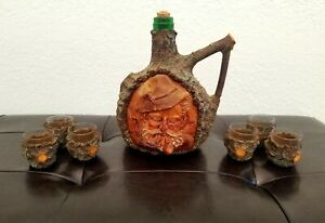 Vintage Black Forest Decanter Character Face Hand Carved Bottle And Glass Cups