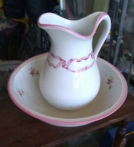 Large Ironstone Pitcher Basin Set Wash Pitcher And Bowl Rose Floral Vintage