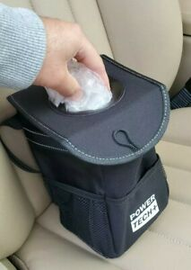 Waterproof Car Trash Can With Lid And Storage Pockets Picnic Storage Bag Black