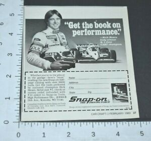 1983 Vintage Print Ad Snap on Tools Rick Mears Indy Winner Race Car Driver Cart