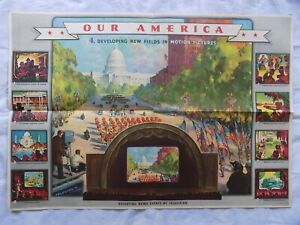 1943 Coca Cola Our America Motion Pictures #4 Ad Poster Coke Color Litho MCM
