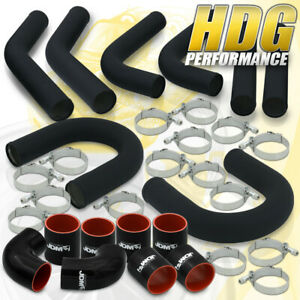 Performance 2 5 Black Bolt On Turbo Piping Set U bend Clamps Blk Couplers