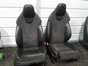 2013 2014 2015 2016 Audi Rs5 S5 B8 Oem Alcantara Suede Black Leather Front Seats