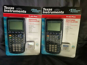 New Lot Of 2 Texas Instrument Ti 83 Plus Black Graphic Calculator Free Shipn