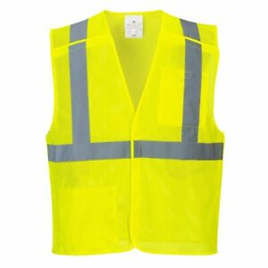 Breakaway Class 2 Yellow Safety Vest Hi vis Reflective Breathable Mesh