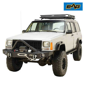 Eag Fits 84 01 Jeep Cherokee Xj Rock Crawler Stinger Front Bumper W winch Plate