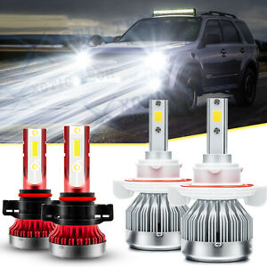 Led Headlights H13 Hi lo 5202 Fog Light Bulbs Kit For Ford Escape 2008 2012