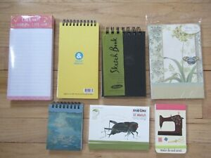 Lot Of 7 New Lined Notepads Decorative Writing Paper Small Sketch Books