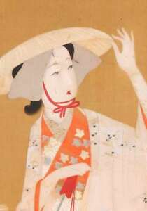 Beauty Japanese Hanging Scroll Painting Autumn Grass Picture Japan Lady C885