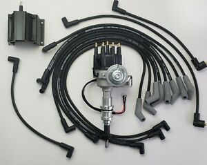 Ford 289 302 Small Cap Hei Distributor 8 5mm Black Spark Plug Wires 50k Coil
