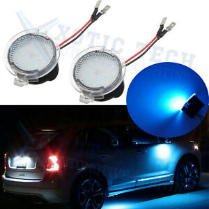 2x 8000k Blue Full Led Side Mirror Puddle Lights For Ford F150 Edge Flex Taurus