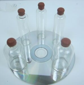 Lot Of 5 Vintage Small Apothecary Jars Bottles With Rubber Lids
