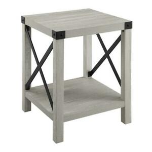 Rustic Wood Side Table Stone Grey