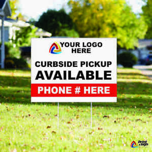 Min Of 2 Custom Yard Signs 12 x18 Sign Coroplast Printed Double Sided With Stds