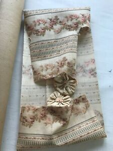Fabric Piece Fagment Antique Vintage Victorian Cotton Print French Hand Sewing
