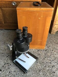 Vintage Spencer Binocular Microscope With Wood Case