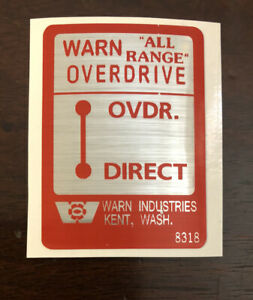 Warn Overdrive Direct All Range Decal Sticker Jeep Willys