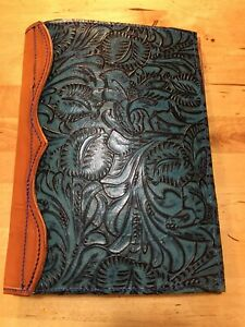 Custom Turquoise And Black Floral Leather Padfolio