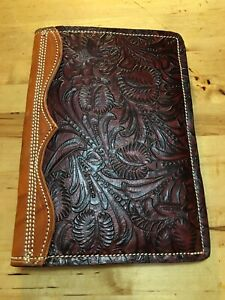 Custom Ruby And Black Floral Leather Padfolio