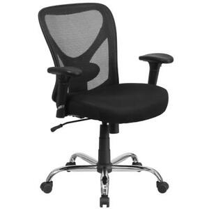 Big Tall 400 Lb Rated Black Mesh Swivel Ergonomic Task Office Chair With