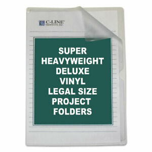 Deluxe Vinyl Project Folders Legal Size Clear 50 box