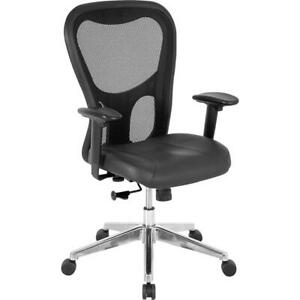 Lorell Mid Back Executive Chair Leather Black Seat Aluminum Frame