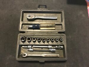 Vintage 16 Pc Craftsman Tools 1 4 Dr Socket Driver Ratchet Set W Case