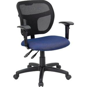 Navy Blue Meshoffice Chair With Back Height Adjustment And Adjustable Arms