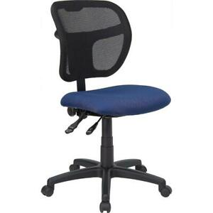 Mid back Navy Blue Mesh Swivel Task Office Chair With Back Height Adjustment