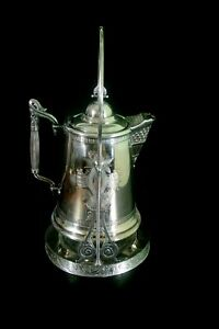 Antique Silver Plate Tilting Pitcher Water Coffee Tea Ornate Late 1800 S