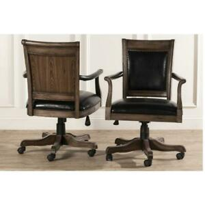 Freeport Wood Game Desk Chair With Arms And Casters With Casters
