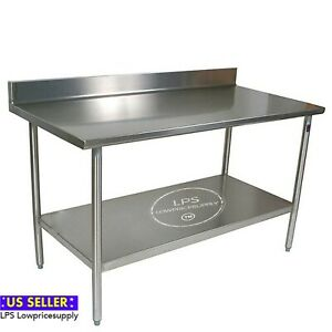 30 X 60 18 gauge 304 Stainless Steel Commercial Work Table With 4 Backsplash