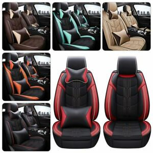 Top Pu Leather Car Seat Covers Deluxe Cushions 5 Sit Auto Interior Protector Set