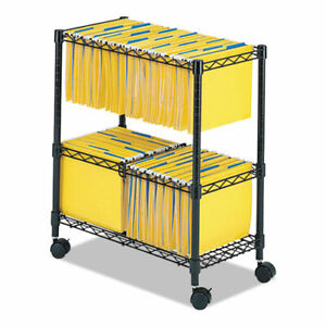 Two tier Rolling File Cart 25 75w X 14d X 29 75h Black