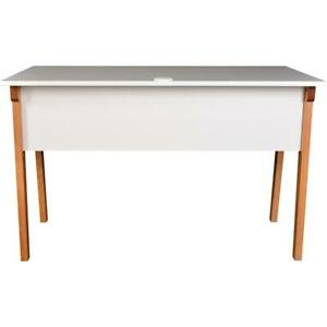 Lorell Mid century Modern Office Desk White Rectangle Top Natural Four