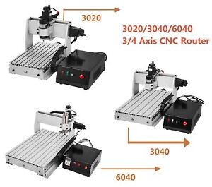3 4 Axis 3020 3040 6040 Cnc Router Milling Engraving Machine Engraver Usb Port